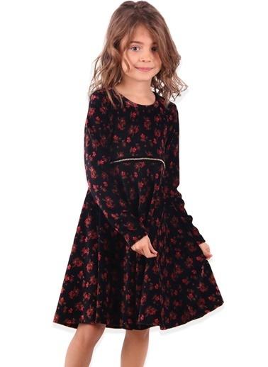 Breeze Kız Çocuk Kadife Elbise Çiçekli-Kırmızı Siyah